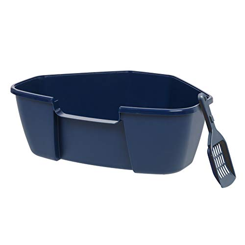 IRIS Large Corner Litter Box with Scoop, Navy