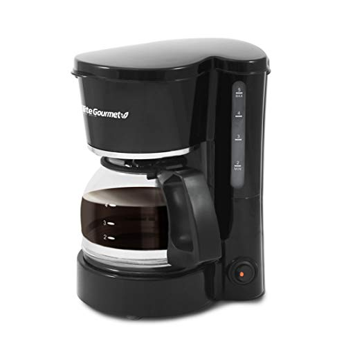 Maxi-Matic Elite Gourmet Automatic Brew & Drip Coffee Maker with Pause N Serve Reusable Filter, On/Off Switch, Water Level Indicator, 5 Cup Capacity, Black