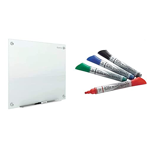 Quartet Glass Whiteboard, Magnetic Dry Erase White Board, 3' x 2', White Surface, Infinity (G3624W) & Glass Board Dry Erase Markers by Quartet, Premium, Bullet Tip, Assorted Colors, 4 Pack (79552)