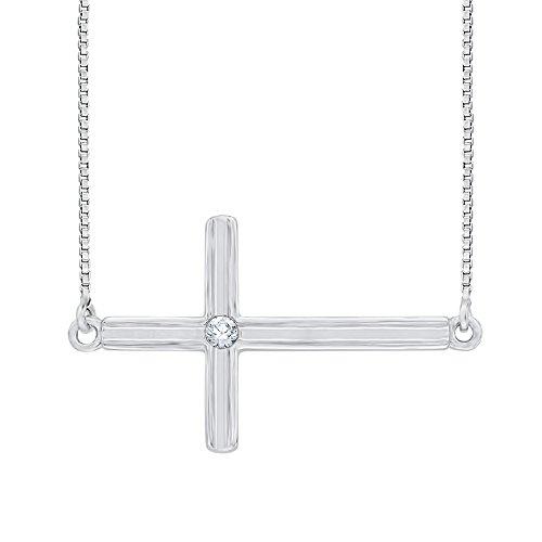 Bisel Set diamante acento Cruz colgante con cadena en plata de ley