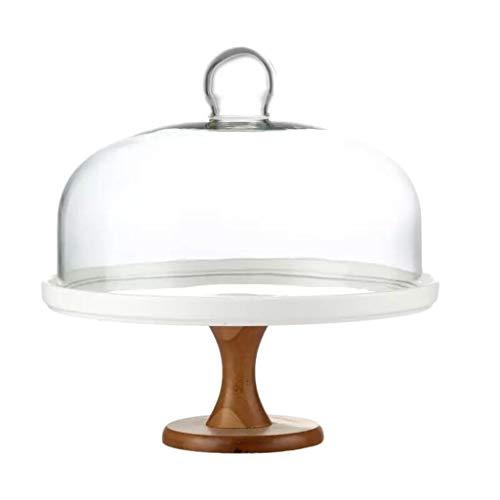 C-J-Xin keramische plaat met deksel, brood biefstuk gemakkelijk te reinigen glas koepel bruiloft koepel display stand keuken stofkap taart staat