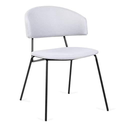 Mc Haus SHIRA - Pack 2 sillas nórdicas comedor cocina tapizadas, salón oficina dormitorio, respaldo y asiento acolchados, 57x54x77,5cm, Color Beige