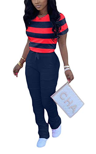 Womens 2 Piece Striped Printed Ruched Short Sleeve Pullover Tunic Crop Tops Drawstring Waist Bodycon Stacked Bell Bottom Pants Trousers Set Romper Jumpsuits Sweatsuits Navy Blue M