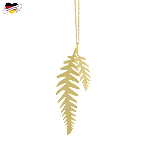 renna deluxe Farn Kette in Gold, Lange Kette mit Zwei Farn-Blatt Anhänger, vergoldet, Natur Schmuck, Farnblatt, Boho Stil minimalistisch   Handmade in Deutschland
