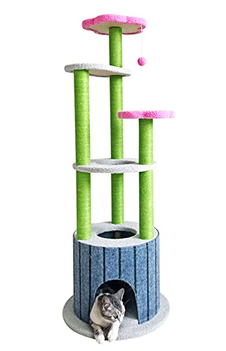 MIAOLEIE Muebles de condominio de torre de árbol de gato de 51 pulgadas con postes de rascado cubiertos de sisal para gatitos Pet House Play