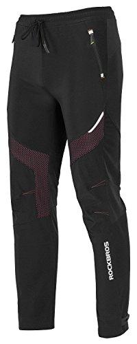 ROCKBROS Winter Cycling Pants Warm Ergonomics Men's Windproof Thermal Bicycling Pants Black US Size XL