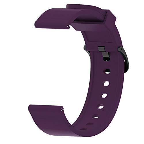 HGGFA Para Huawei Watch GT2 Correa de silicona de 42 mm, correa de reloj de 20 mm para Galaxy Watch Active 2 para amazfit bip ремемок (color de la correa: morado, ancho de la correa: 20 mm)