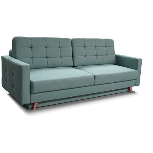mb-moebel Schlafsofa Kippsofa Sofa mit Schlaffunktion Klappsofa Bettfunktion mit Bettkasten Couchgarnitur Couch Sofagarnitur - Carla (Mint)