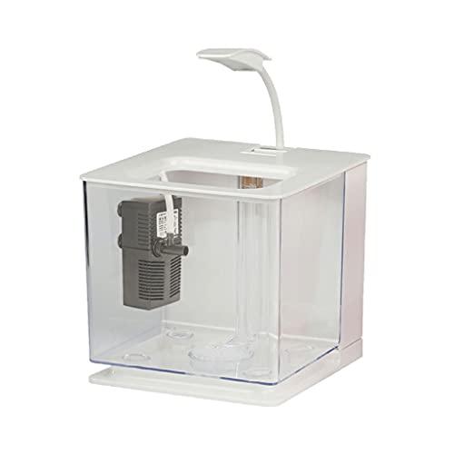 YZERTLH Tanque de Peces creativos de Escritorio LED Luminoso Pequeño Pez Pez Fighting Tanque de Pescado sin Cambio de Agua Decoración Filtro de Peces Ornamental Bomba de Filtro (Color : White)