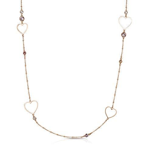 Brosway Collana Lunga Donna Sight in Acciaio Oro Rosa con Cuori e Cristalli Rosa BGH04