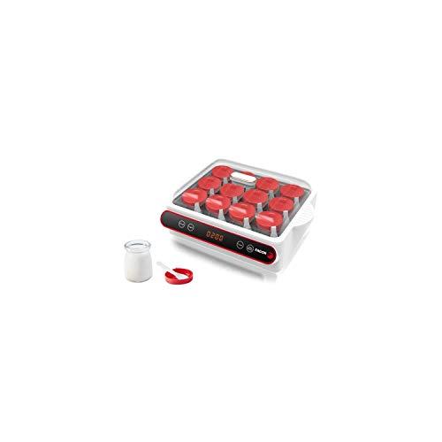 Fagor FG3215 - Yogurtera (12 tarros de 110 ml por maceta de 40 W, botón de start/pausa, temporizador hasta 12 horas, 2 programas)