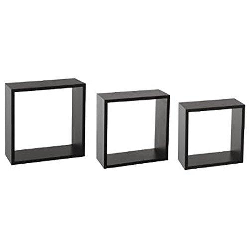 Paris Prix Five Simply Smart - Lot de 3 Étagères Murales Cube 30cm Noir
