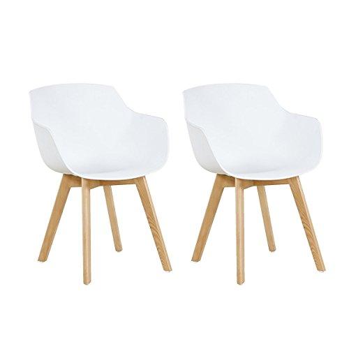 H.J WeDoo 2er-Set Wohnzimmerstuhl Esszimmerstuhl mit Armlehne und Buchenholz Retro Design Stuhl für Büro Lounge Küche Wohnzimmer (Weiß)