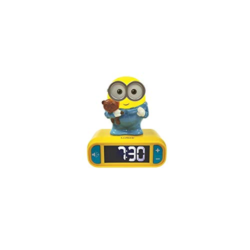Lexibook RL800DES Wecker Minions Klingeltönen, Digitalwecker für Kinder mit Nachtlicht und Snooze, Kinderuhr, leuchtendes Bob, Gelb/Blau