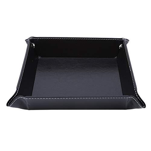 Bandejas organizadoras de cuero sintético plegable bandeja para llaves de teléfono, monedero de almacenamiento de escritorio, caja de papeleras, accesorios (color negro)