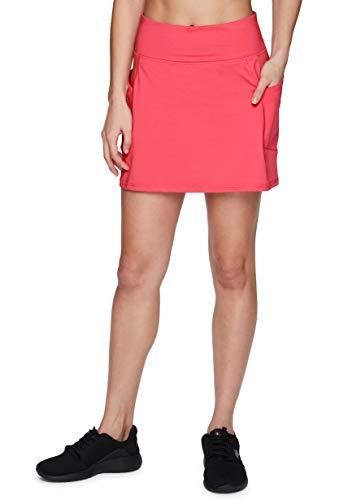 RBX Active - Falda atlética de punto elástico para mujer, con parte delantera plana y bolsillos, Rosado Coral, M