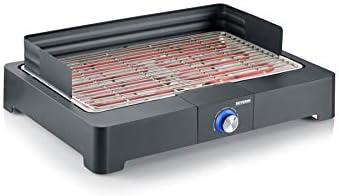 """SEVERIN Barbecue de Table, 2 200 W, Bac à eau, Pare-vent Amovible, Revêtement """"SafeTouch"""", grille inox, Thermostat, Noir, PG 8560"""