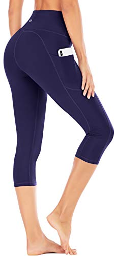 IUGA Yoga Pants with Pockets, Tummy Control, Workout Running Leggings with Pockets for Women (Darkblue, M)