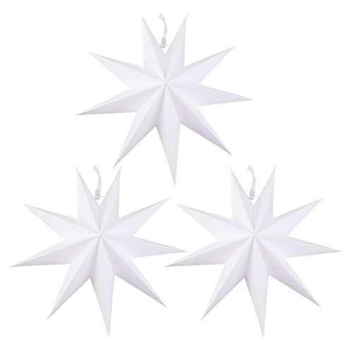 miwaimao 3 farolillos de papel con forma de estrella, 9 puntas, papel para origami, decoración para fiestas de Año Nuevo, cumpleaños, decoración del hogar, 30 cm