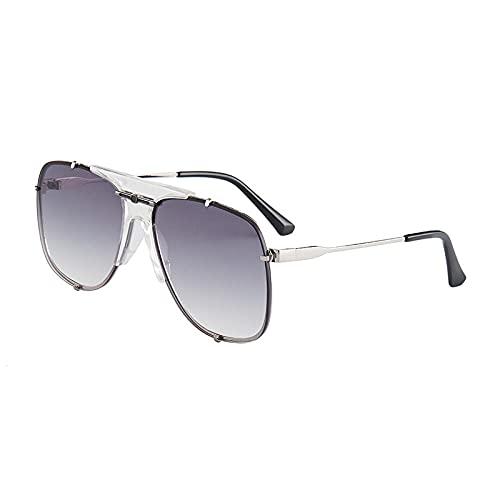 XDOUBAO Gafas de sol Gafas de sol Femeninas Gafas de sol Street Tiro delgada Personalidad Gafas Conductor Tide Sunshade-Color foto_Película Grey Grey Gunfox