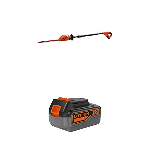 BLACK+DECKER 20V MAX Cordless Pole Hedge Trimmer with Extra Lithium Battery 3.0 Amp Hour (LPHT120 & LB2X3020-OPE)