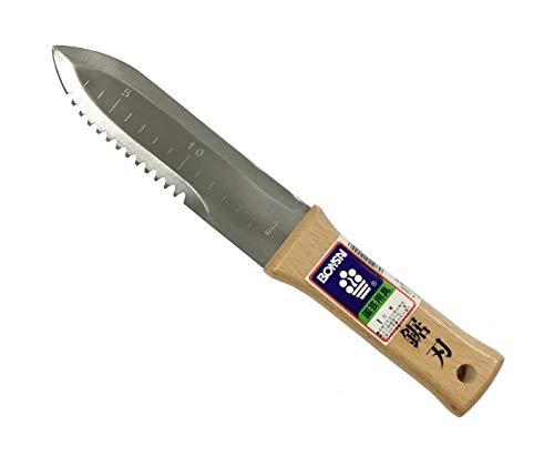 Bonsai No.10044 Japanese Hori Hori Garden Knife, Straight and Serrated Edge Stainless Steel Blade 6.7'(170mm), Wooden Handle
