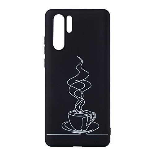 DiaryTown compatibel met Case Huawei P30 Pro Silicone, Zwart Huawei P30 Pro, Achterzijde, Koffie