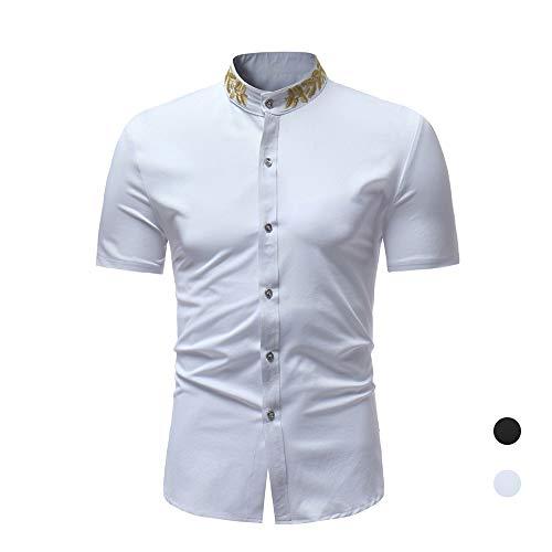 X&Armanis Business Short Sleeve Shirt für Herren, Baumwollmischung Besticktes Hemd mit Stehkragen Casual Vintage Short Sleeve Shirt,1,XL