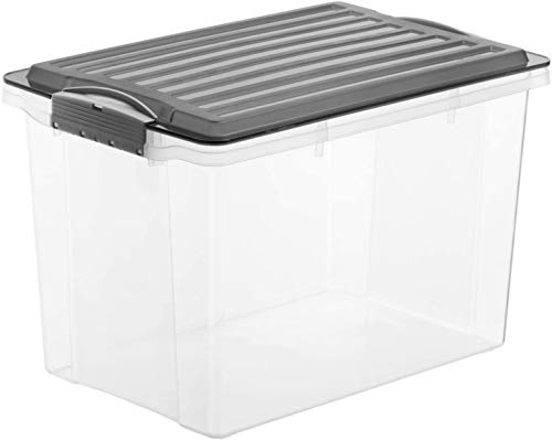 Rotho Compact Aufbewahrungsbox 19l mit Deckel, Kunststoff (PP) BPA-frei, grau/transparent, A4/19l (39,5 x 27,5 x 27,0 cm)