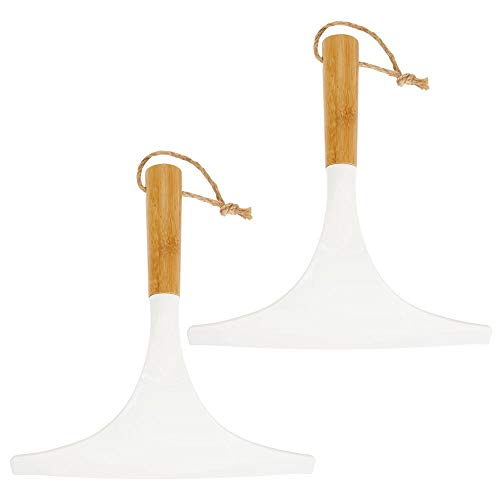 mDesign Juego de 2 limpiadores de cristales para baño – Práctico accesorio para limpiar mamparas de ducha o ventanas – Limpiavidrios de bambú con cordel para colgar – blanco natural