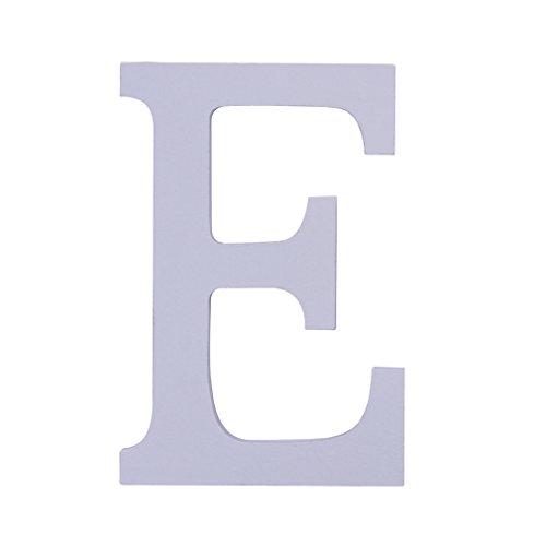 Bigood Alphabet Blanc en Bois Décor Mariage Anniversaire Saint Valentin Soirée Lettre E