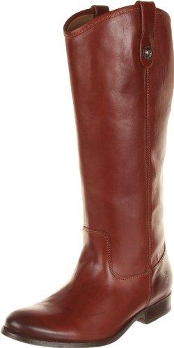 FRYE Original Melissa Button, Botte d'équitation Femme, Cuir de Veau, Large, Couleur Cognac, 38 EU