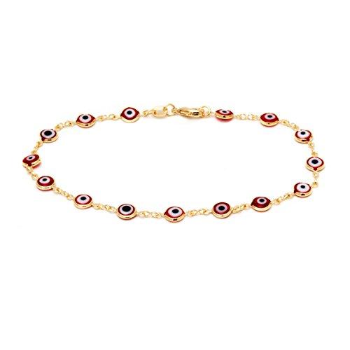 Barzel 18k Gold Plated Evil Eye Anklet Bracelet (Red)