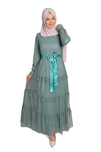 fashionByShe - Bonito vestido de encaje con cinturón decorativo - maxi vestido...