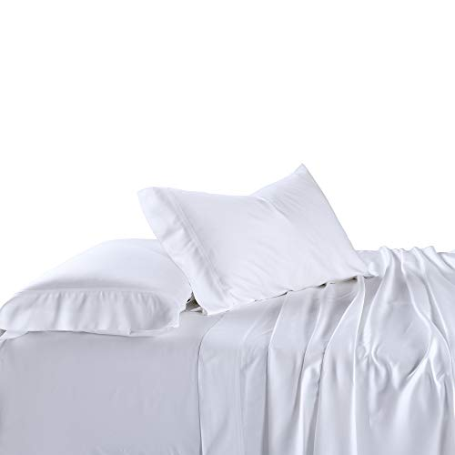 Royal Tradition Bamboo-Cotton Blend Sheet Set (Queen Size, White-Solid) A Durable, Breathable Deep Pocket Bed Sheets