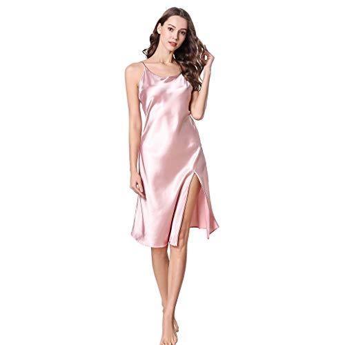 ZOTTOM Frauen simulierte Seidenpyjamas Sling Pyjamas Lange sexy High Waist Split Nachthemd(Rosa,Large)