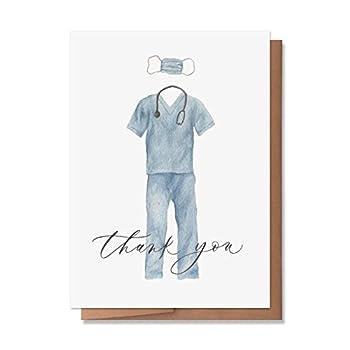 Wunderkid Thank You Card Doctor or Nurse Hero Appreciation Day Card  1 Single Card Blank inside