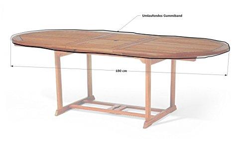 GRASEKAMP Qualität seit 1972 Gartentisch Tischplatten Abdeckung Schutzhülle Plane Abdeckplane 180x100cm oval