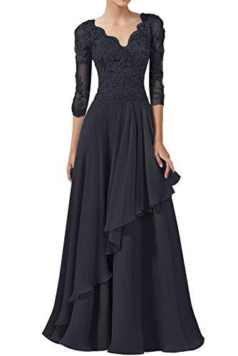 Abendkleider Spitzen Lang Ballkleider Hochzeitskleid A-Linie Brautjungfernkleider 3/4Ärmel Elegant Brautmutterkleider Festkleider Navy 34