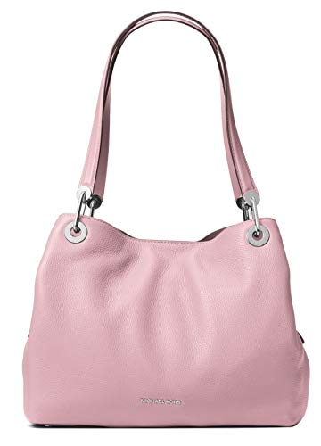 "Lilac rich pebble leather. Open top with magnetic snap closure. Metal logo lettering at bottom center. Flat top handles, 11"" drop. Golden hardware. Interior: center zip compartment, one zip pocket, four slip pockets and key clip. Shoulder bag size: 1..."