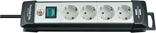 Brennenstuhl Premium-Line, Steckdosenleiste 4-fach (Steckerleiste mit Schalter und 5m Kabel - 45° Anordnung der Steckdosen, Made in Germany) schwarz/grau