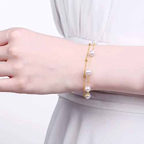 DX.PZ 18 Karat Gold 6,5-7 MM Perle Armband Für Frauen, Zierlich Gelb Echtes Gold Perlenball Einstellbar Kette Schmuck Armband