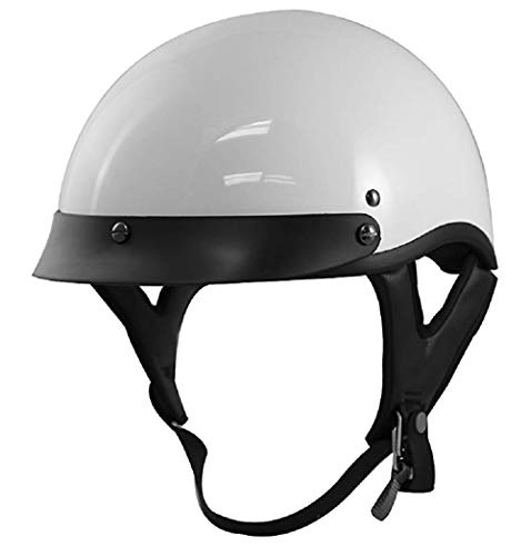 Gloss White Motorcycle Half Helmet for Adults