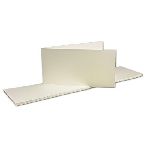 50 Stück - Doppelkarte (querdoppelt) DIN Lang, Opal-Weiß, 210 x 105 mm (geschlossen), 260 g/m² - Serie O.P.A.L