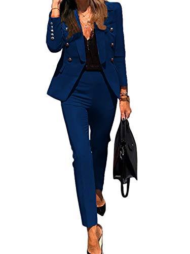 Minetom Mujer Blazer Y Pantalones Dos Piezas Set Elegantes Manga Larga Slim Fit Chaqueta De Traje Oficina Negocios Conjunto A Azul 36