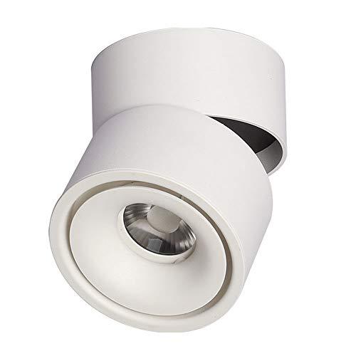 Foco de techo moderno blanco de aluminio LED 7 W 3000 K, luz cálida de diseño giratorio, para salón, dormitorio, oficina, habitación de los niños, habitación de hotel