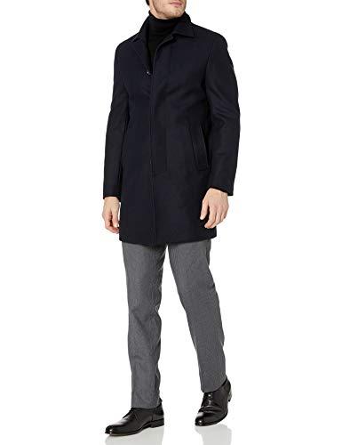 DKNY Herren Slim Fit Woll-Mantel, Marineblau, kariert, 50 lang