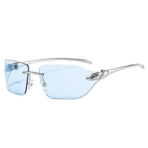 FENGHUAN Gafas de Sol de Guepardo únicas Vintage para Mujer, sin Montura, con Lentes Transparentes para el océano, Gafas deSol para Hombre,Azul Plateado
