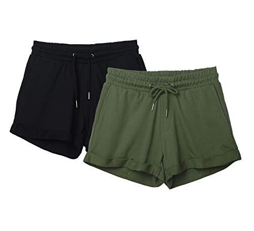 icyzone Damen Sweatshorts 2er Pack Kurze Sporthose Gym Fitness Shorts (M, Black/Green)