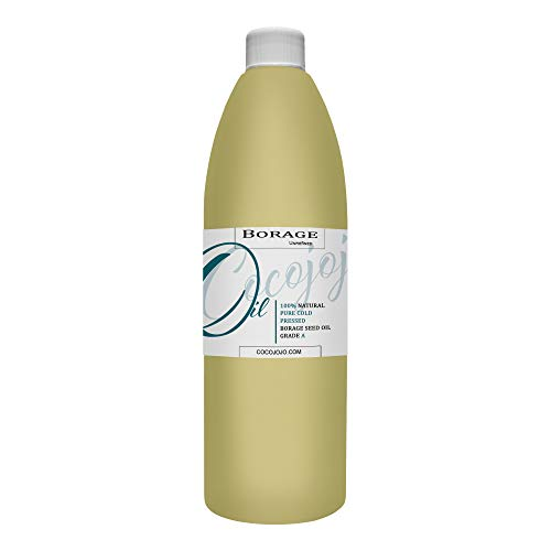 Borage Seed Oil - 100% Pure, Unrefined, Cold Pressed, Non-GMO Premium Grade Carrier Oil for Skin, Hair, Nails, Body, Beard, Face - 16 oz - Great for All Skin Types